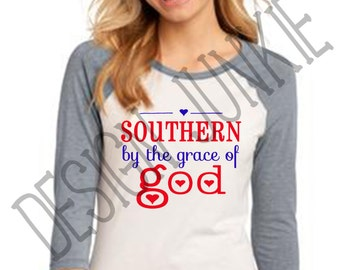 Women's Baseball Tee - Southern By The Grace Of God