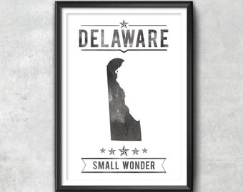 Delaware State Typography Print, Typography Poster, Delaware Poster, Delaware Art, Delaware Gift, Delaware Decor, Delaware Print, Delaware