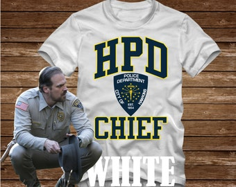 HPD CHIEF Hawkins Police Department T-Shirt Adult sizes S-3Xl in many colors - inspired by the Tv show Stranger Things david harbour