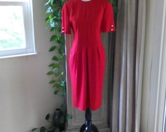 Vintage Short Sleeve Red Dress by Liz Claiborne Size 6 Below the Knee Dress with Pockets Size 8 Fitted 80s Dress, Preppy Dress, Career Dress