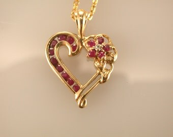 10K Yellow Gold Ruby & Diamond Pendant, Ruby Heart Pendant,  July Birthstone