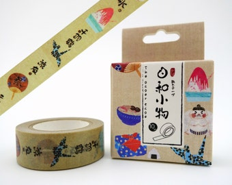 Japanese cultural items 10m washi tape in box - sumo wrestlers & origami cranes - shaved ice - noodles - ramen and bento box - onigiri rice