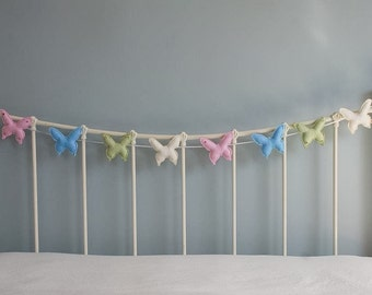 Butterfly Garland - butterfly bunting - felt bunting - nursery decor - child decor  handmade - baby shower - photo prop - MADE TO ORDER