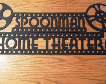 Custom Personalized Home Theater Metal Sign