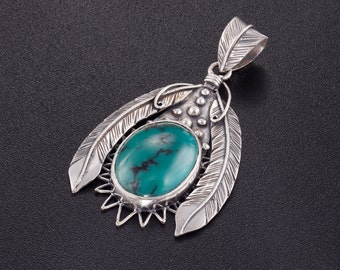 Feathers pendant. feather jewelry. boho turquoise necklace. tribal jewelry. silver pendant. silver turquoise pendant. shaman jewelry. native