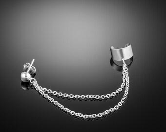 Silver earcuff earring double chain. double chain ear cuff. ear cuff. ear cuffs earring. ear cuff sterling silver. earcuff .ear cuff chain
