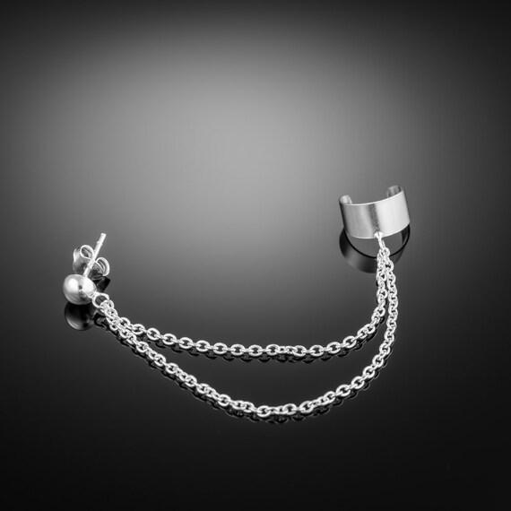 Silver Earcuff Earring Double Chain Double Chain Ear Cuff