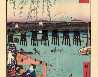 "Woodblock print, Japanese Ukiyoe, Hiroshige, ""Ryôgoku Bridge in Edo"", Thirty-six Views of Mount Fuji ."