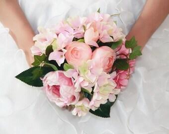 Blush Pink Bridal Bouquet Silk Rose And Hydrangea Pale Wedding Artificial