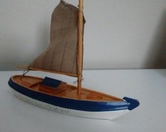 Little Wooden Sail Boat, Handmade, Handpainted  Sail Boat