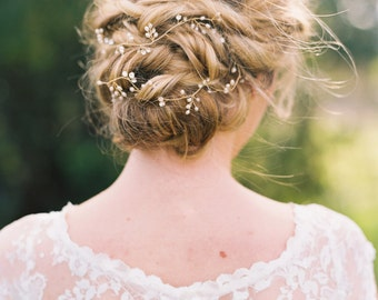 Bridal Gold Hair Vine Bridal Hair Vine Pearl Hair Vine Pearl Headband Bridal Headband Wedding Hairpiece Crystal Headband Hair Vine #148