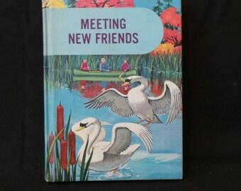 SALE Vintage Meeting New Friends English Literature Short Stories Illustrated Children's School Book
