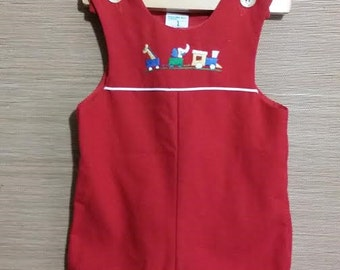 Little baby boy red vintage, Norah Art rompers, size 12 months,