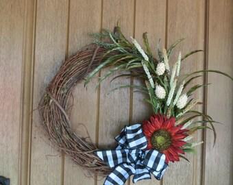 Front Door Wreath, Rustic Wreath, Fall Wreath