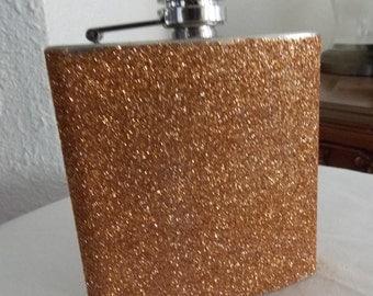 Bronze Flask,Glitter Flask,Caramel Glitter Flask, Caramel Flask, Bridemaid Gift, Bridemaid Flask, Bronze Glitter Flask, Flask, Wedding Party