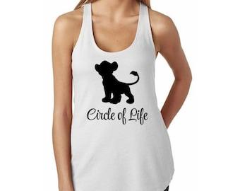 """Lion King """"Circle of Life"""" Pumba Silhouette Racerback Tank Top // Disney Lion King Tank // Disney Lover Shirt // Simba Lion King Shirt"""