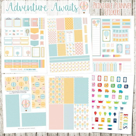 Adventure Awaits Printable Planner Stickers - 6 Full Pages!  (Made to fit The Erin Condren Planner - ECLP)