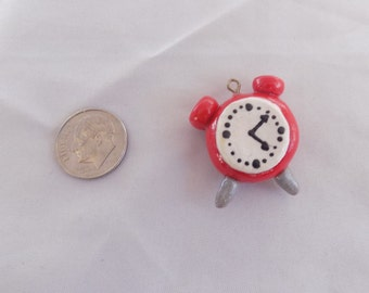cute polymer clay clock charm or neaklace