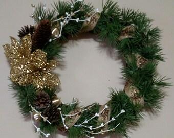 Christmas Gold Poinsettia Grapevine Wreath