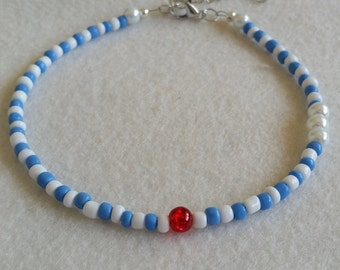 Blue and white glass seed bead anklet