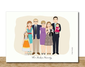 Bespoke Family Portrait, Custom Portrait, Family Cartoon Illustration, Personalized Gift From Photos, Original Gift For Mom, Home Decor