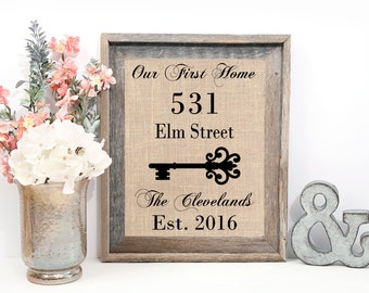 Our First Home Sign | Housewarming Gift | House Number Sign | First Home Gift