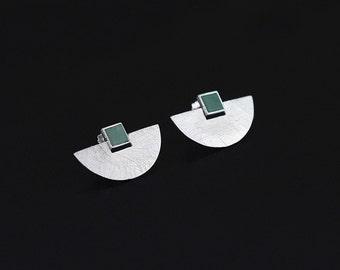 Fan Shape Earrings Sterling Silver Fan Square Gemstone Stud Earrings Fashion Fan Earrings Unique Design For Women Gift for her