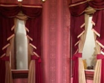 1:12 scale Custom Dollhouse Curtains - Swag & Tail