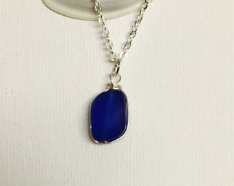 Deep Blue Sea Glass Silver Wire Wrapped Necklace