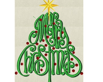 "Christmas Tree  ""Merry Christmas"" EMBROIDERY DESIGN FILE - Instant download - 5x7 & 4x4 frames - Exp Xp3 Dst Hus Jef Pes formats"
