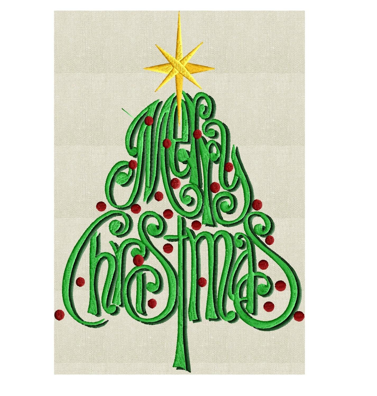 Christmas Tree Merry Christmas EMBROIDERY DESIGN