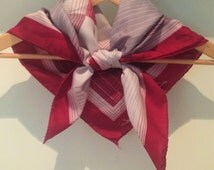 Sale! Vintage Leonardi scarf in red and grey with striped geometric pattern and rolled hem, made in Italy, from the 1970s