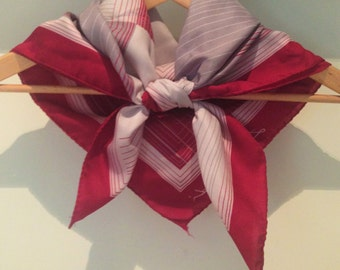 Sale! Vintage Leonardi scarf in red and grey with striped geometric pattern and rolled hem, made in Italy