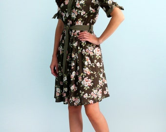 Dress with flower print  Viscose dress  Long sleeves Dolly dress