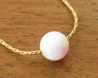 Gold necklace, opal ball necklace, opal gold necklace, opal jewelry, tiny dot necklace, opal bead necklace, dot necklace, white opal