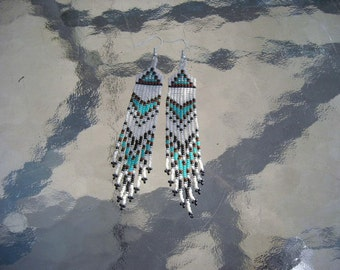 Seed Beaded Earrings, Turquoise Blue, Brown, Black and Bone, Native American Inspired Seed Beaded Jewelry, Fringed Earrings