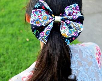 Handmade Sugar Skull Bow