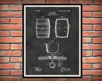 Patent 1898 Beer Barrel - Wine Barrel - Beer Keg - Art Print Poster - Wall Art - Craft Beer Art - Sports Bar Art - Winery Wall Art