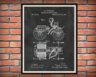 Patent 1885 Electric Fire Engine System - Art Print - Poster - Wall Art - Fire House Art - Fire Fighter - Fire Department Art - Fire Truck