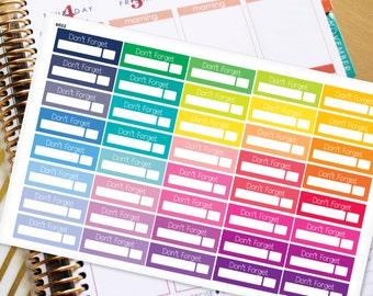 Planner Stickers Erin Condren Life Planner (ECLP) - 40 Don't Forget Stickers (#6022)