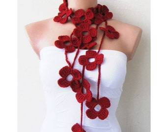 Red Wine Flower Scarf Hand Crochet Lariat Scarf
