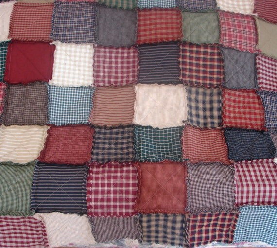 Rag quilt lap throw table square country tablecloth for Table th row group
