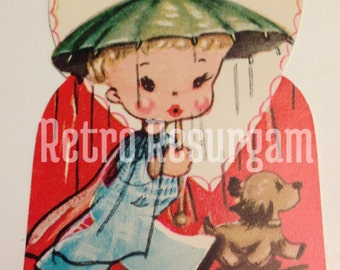 1940's Umbrella Valentine's Day Card