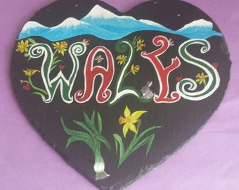 2 Welsh handpainted heart mats/ plaque.