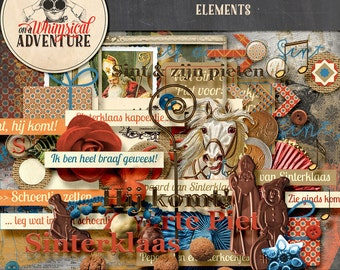 Digital scrapbooking, digital download, scrapbook elements, vintage Sint, vintage Sinterklaas Zwarte Piet, pepernoten art journaling, cards