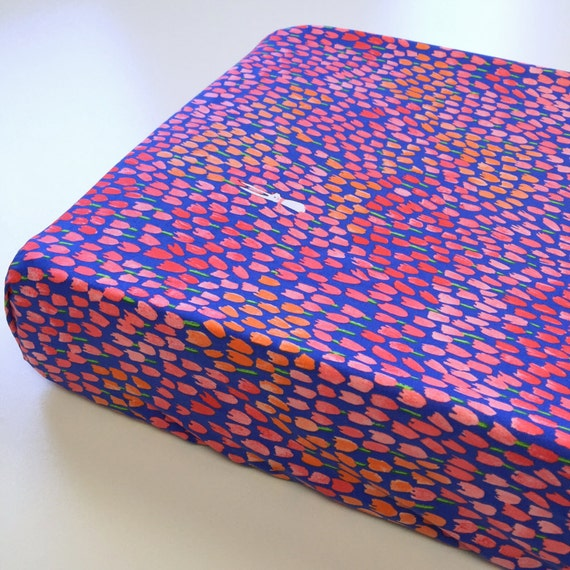 Changing Pad Cover >> Sommer Tulip Tangled in Blueberry >>READY-to-SHIP >> cobalt changing pad, floral changing pad, garden bunny rabbit