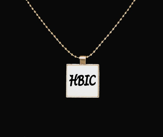 HBIC pendant, Head B in charge, sarcasm, I'm in charge, boss lady, silver pendant, funny necklace, novelty jewelry, profanity, Beyotch
