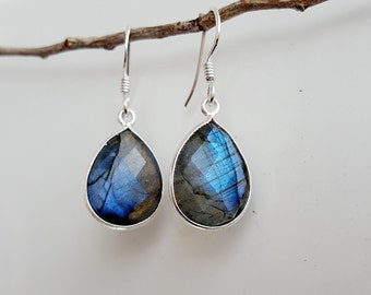 Blue Labradorite Earrings - Gemstone Earrings - Sterling Silver Labradorite Dangle Earrings - Natural Labradorite Jewelry- Gift for Her