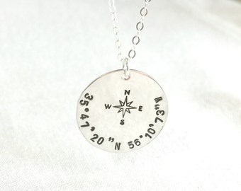 Sterling Silver Coordinates Necklace, Compass Necklace, Graduation Necklace, Anniversary Gift, Gift To Her, Birthday Gift, Wedding Gift