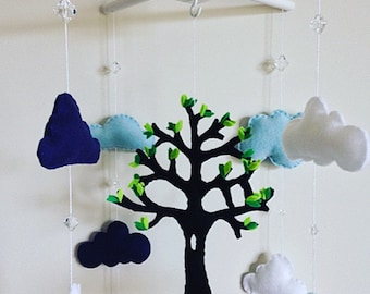 felt  baby crib mobile, tree of life and clouds